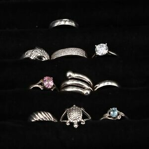 VTG Sterling Silver - Lot of 10 Assorted Solid & Gemstone Rings NOT SCRAP - 27g