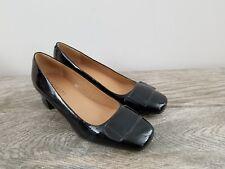 TALBOTS Black Patent Leather Low Heel Square Toe Pumps Sz 7.5 B EUC CLASSIC !