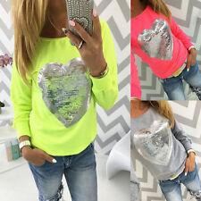 Damen Paillette Herz T-shirt Langarm Pullover Bluse Top Freizeit Oberteile Hemd