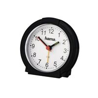 Small Travel Sweep Silent Movement Analogue Alarm Clock With Snooze Black/White