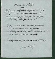 Paul Valéry.Poème inédit.Autographe.Signé.