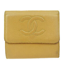 Authentic CHANEL CC Logos Trifold Wallet Purse Caviar Skin Leather Beige 08D284