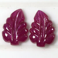 5.90 Cts Natural Unique Top Pink Red Ruby Hand Made Leaf Carving Pair Africa Gem