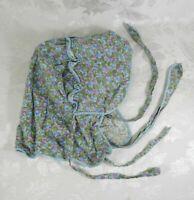 Vintage Prairie Sun Bonnet Neck & Back Ties Violets Blue Green Purple Ruffled