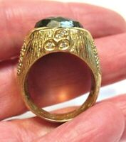 GOLD ON STERLING SILVER LABRADORITE CLEAR STONE RING VINTAGE SIZE 8.75