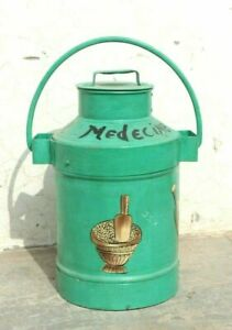 Old Vintage Handmade Iron Milk Pail Can Antique Indian Decor Collectible BN-29