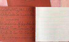 2x Red Traditional Cursive Handwriting Exercise Book Wide Guide Lines Writing