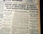 PROHIBITION Herbert Hoover Message to Congress DRY LAWS Enforced 1930 Newspaper