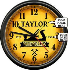 Personalized Woodworking Carpenter Wood Carpentry Shop Tools Sign Wall Clock