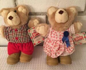 FURSKINS 2 vintage WENDY'S restaurant stuffed toys 1986 w tags Hattie & Boone