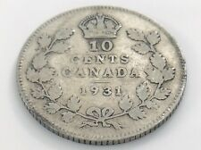 1931 Canada Ten 10 Cent Silver Dime Circulated Canadian George V Coin I518
