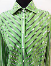 *AS NEW Size M Jones New York Green & Black Striped Cotton Blouse- 50cm Bust