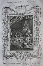 Original antique print ISAIAH & HEZEKIAH, 2 Kings 20.1, Southwell's Bible 1774