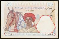 25 FRANCS 1938 AFRIQUE OCCIDENTALE / FRENCH WEST AFRICA - P22