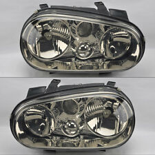 VW Golf Cabrio 99-04 MK4 Smoke Chrome Glass Front Headlights Pair Set RH LH