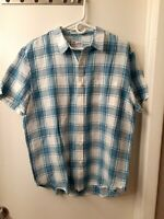 Lucky Brand Mens Large L Shirt S/S Blue/Green/White Plaid NWT Linen Blend