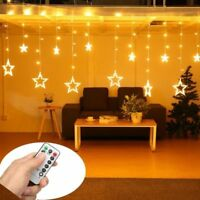 Christmas Star LED Decorations Curtain Window Lights String + remote control