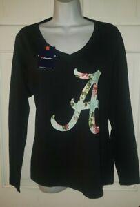 ALABAMA CRIMSON TIDE black Cotton Floral Green Logo V-neck T-shirt M NWT