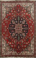 Vintage Traditional Hand-knotted Geometric Area Rug RED Oriental Wool Carpet 4x5