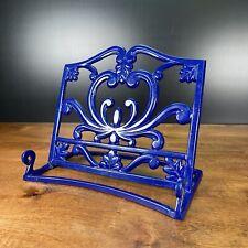 New listing Vintage Heavy Cast Iron Stand Holder (for Cookbooks, Books, tablets) Blue Enamel