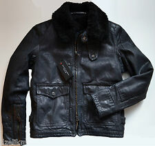 NWT $2,395 Ralph Lauren Black Label Denim Jacket Shearling Lined Size 6 in Black
