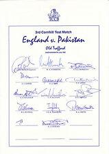 ENGLAND Official CRICKET 1992 Old Trafford Test v Pakistan SIGNED Team Sheet