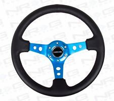 "NRG Steering Wheel 06 Black Leather Blue Trim / Spoke 350mm (3"" DEEP DISH)"
