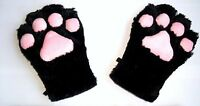 cat paws fox paws gloves cosplay costume plush cat claws black cat - USA SELLER