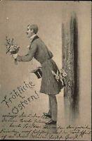 Frohe Ostern Fest 1901 Hasen im Frack Mann Zylinder Blumen gel. Lauban Stempel