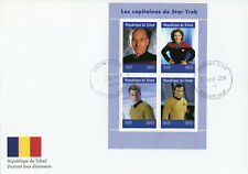 Chad 2019 FDC Star Trek Captains Kirk Picard Janeway 4v M/S Cover Movies Stamps