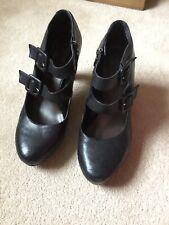 Tamaris Negro Plataforma Mary Jane Zapatos Talla 6