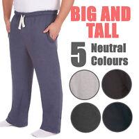 Mens Plus Size Jogging Bottoms Sweat Jog Pants Trouser Open Hem Size 3XL-6XL UK