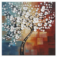 Hand Paint Canvas Oil Paintings Home Decor Wall Art Abstract Flower Tree Framed