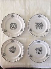 RARE Set of 4 Cantagalli Florence taly Pottery Coat of Arms Salad Desert Plates