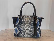 Brahmin Leather Cobalt Ballington Mini Priscilla Blue Satchel Purse