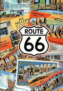 Fun Times on Route 66, Large Letter Postcards Collage, Road Sign, USA - Postcard