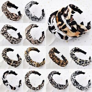 Women Leopard Print Headband Turban Hairband Head Tie Twist Knot Hair Hoop New