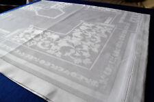 Damasttafeltuch Jugendstil mit Hohlsaum 160 x 130 Tag-Nachtveilchen Blütenbord