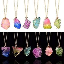 Natural Stone Rainbow Crystal Chakra Rock Chain Necklace Quartz Pendant Jewelry