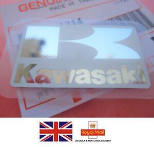 KAWASAKI GENUINE STICKER DECAL SILVER + WHITE EMBLEM *UK STOCK*