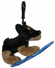 Plush Dog On A Surfboard Key Chain or Backpack Clip -Doberman Pinscher