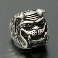 Mens Vintage Bulldog Pitbull Dog Pet Biker 316L Stainless Steel Ring Silver Tone