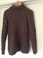 LL BEAN Cable Knit Sweater Brown Wool blend pullover