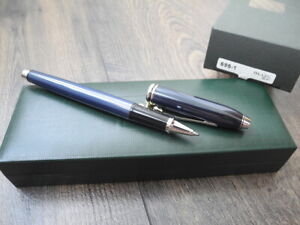 CROSS TOWNSEND Quartz BLUE Lacquer ROLLERBALL PEN SET NEW