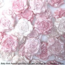 12 Baby Pink Pearl Mix Sugar Roses edible flowers wedding cake decorations 30mm