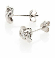 9ct white gold knot stud earrings with a 3mm cubic zirconia CZ. Gift box