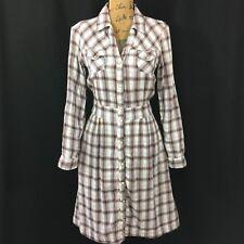 Sm 2 Dress Long Sl Plaid Shirt Pearl Snap Brown Blue 4 Pocket BOB TIMBERLAKE LN
