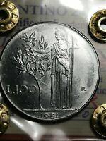 REPUBBLICA ITALIANA - MONETA 100 LIRE - 1981-MINERVA - CON BARRETTE--PERIZIATA