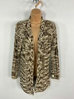 WOMENS ROMAN BROWN/CREAM KNITTED PEARL EDGE OPEN FRONT CARDIGAN JUMPER MEDIUM M