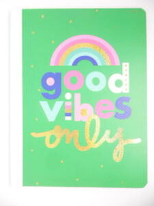 Top Flight Composition Notebook Wide Ruled 100 Sheets Rainbow Good Vibes Only
